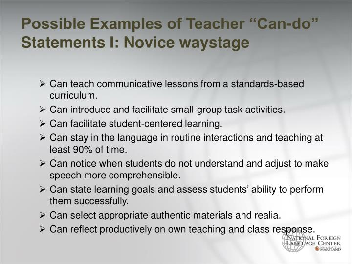 "Possible Examples of Teacher ""Can-do"" Statements I: Novice"