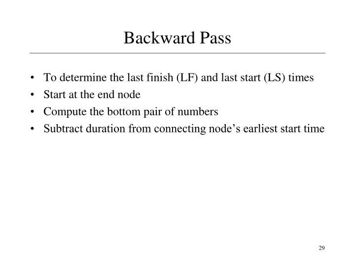 Backward Pass