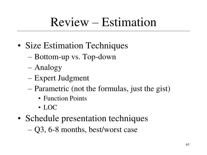 Review – Estimation