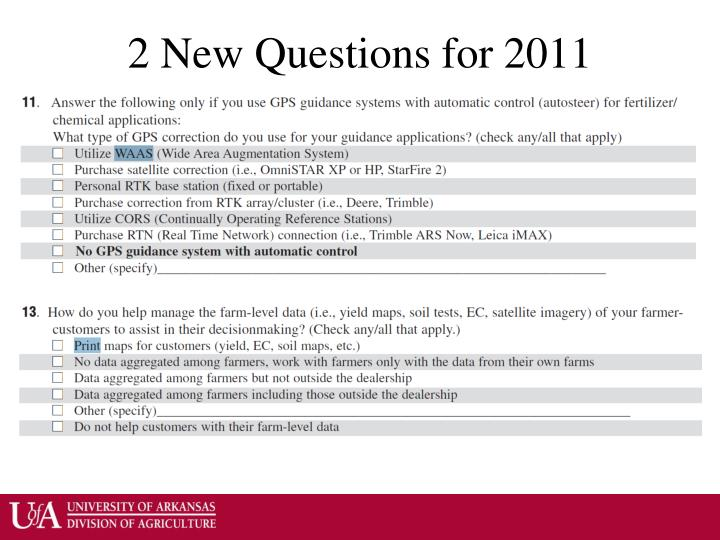 2 New Questions for 2011