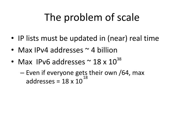 The problem of scale