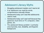 adolescent literacy myths