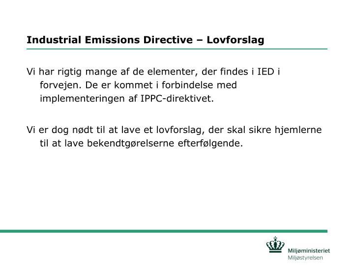 Industrial emissions directive lovforslag