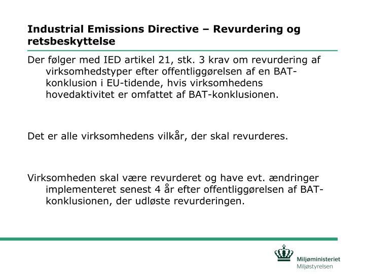 Industrial emissions directive revurdering og retsbeskyttelse