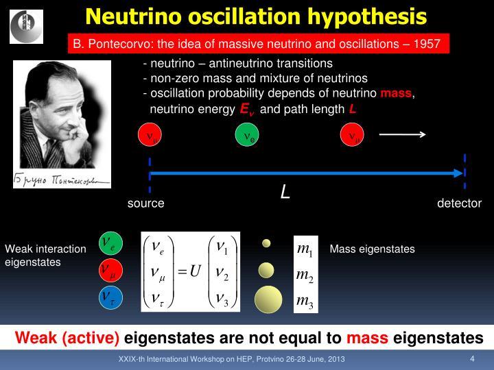 Neutrino oscillation hypothesis
