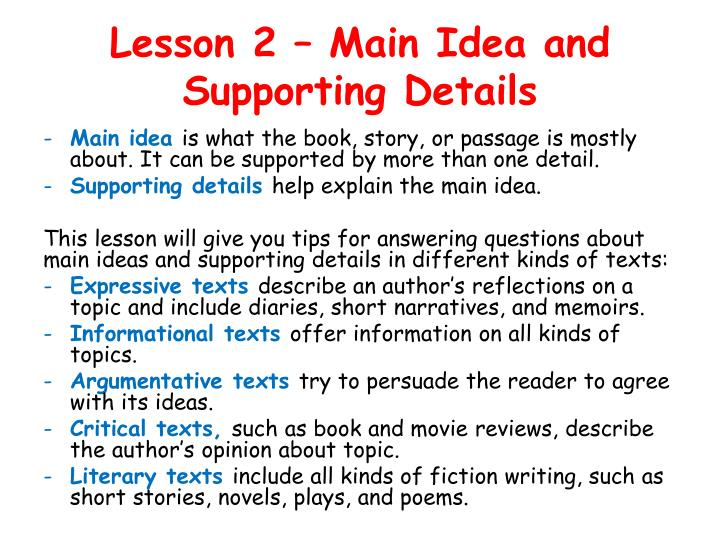 Lesson 2 main idea and supporting details