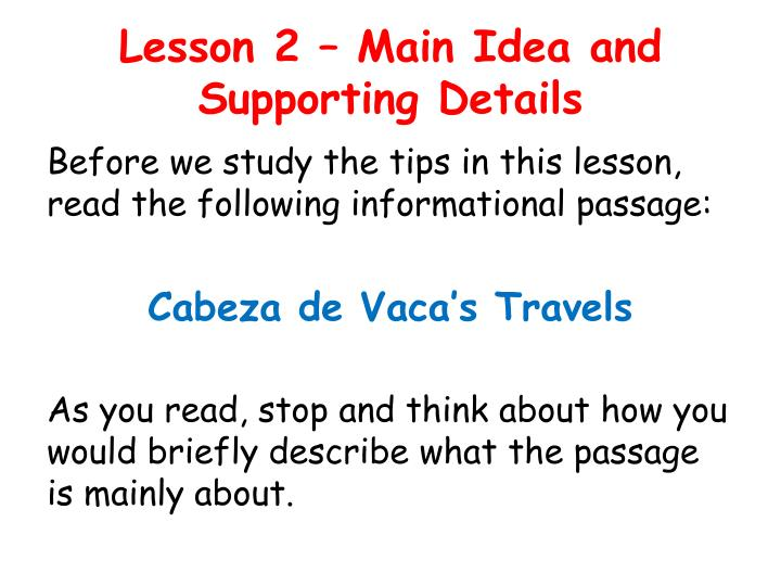 Lesson 2 main idea and supporting details1