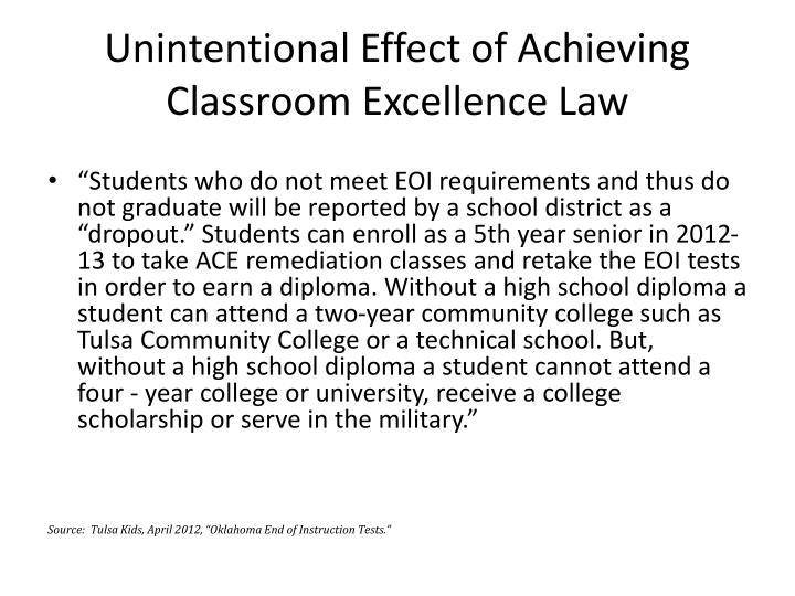 Unintentional Effect of Achieving Classroom Excellence Law