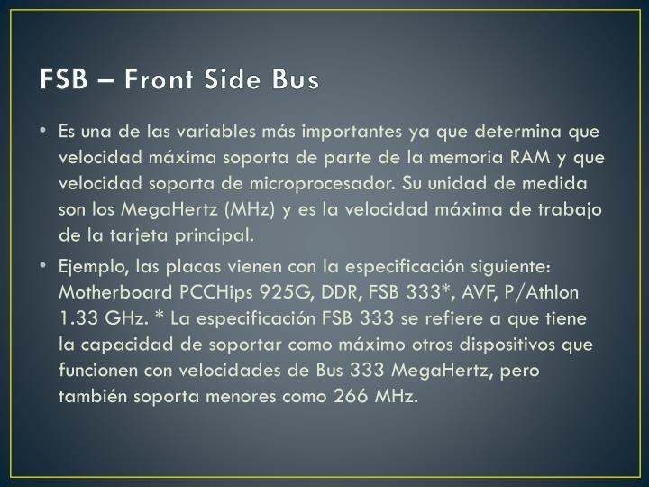 FSB – Front Side Bus