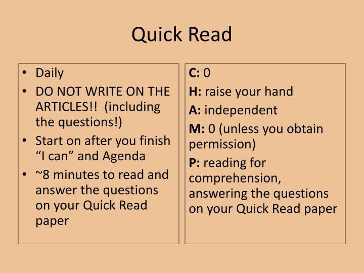 Quick read