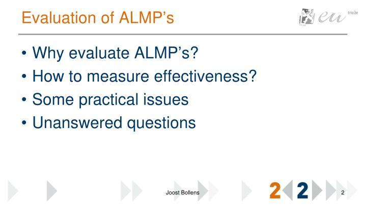 Evaluation of almp s