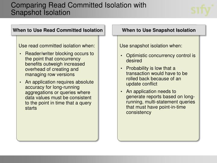 Comparing Read Committed Isolation with