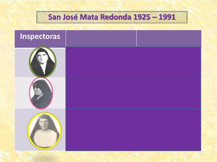 San José Mata Redonda 1925 – 1991