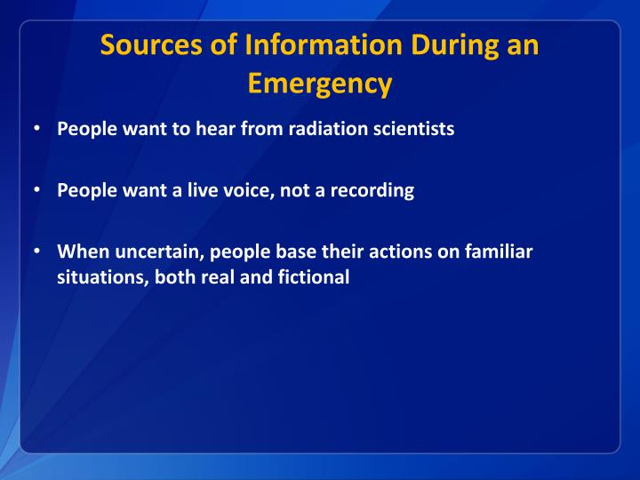 Sources of Information During an Emergency
