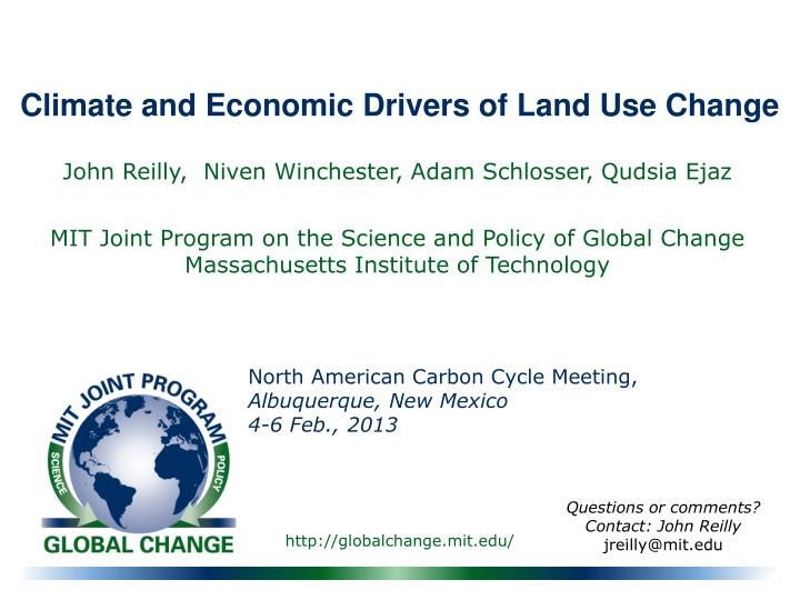 climate and economic drivers of land use change n.