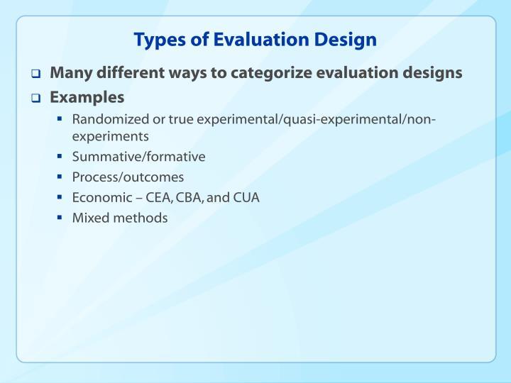 Types of Evaluation Design