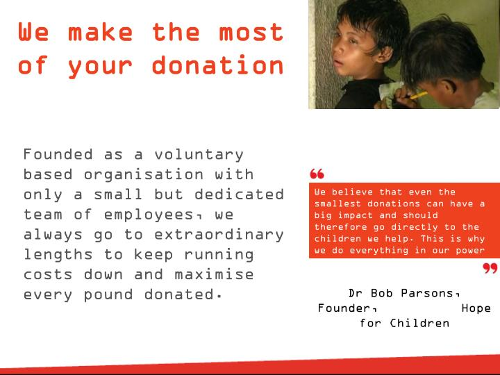 We make the most of your donation
