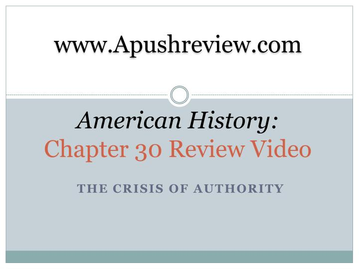 american history chapter 30 review video