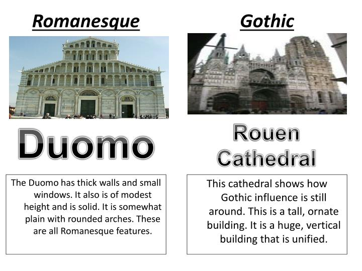 gothic and romanesque cathedrals essay Essay on gothic architecture clayton fraleigh 11/7/12 journal vii gothic architecture gothic architecture started in the early 12th century in france, during the medieval time period and ended around the 16th century.