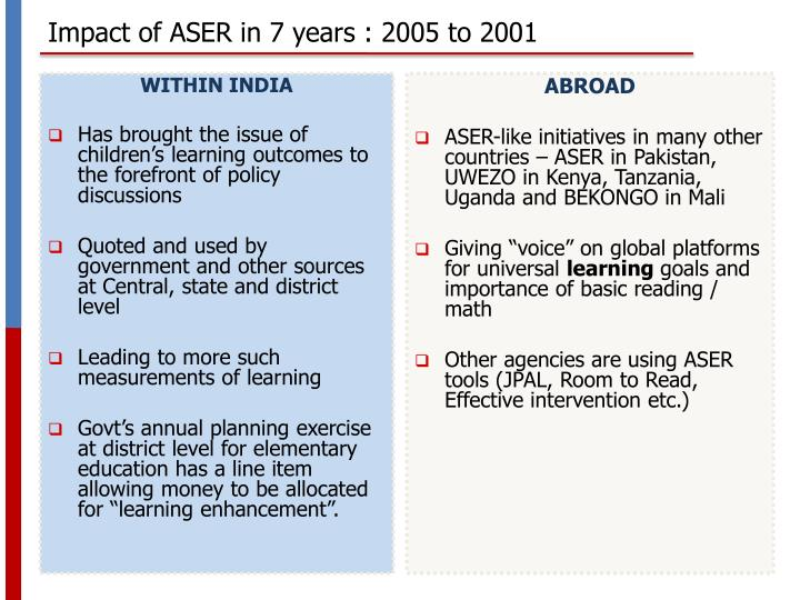 Impact of ASER in 7 years : 2005 to 2001