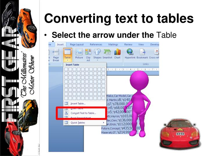 Converting text to tables