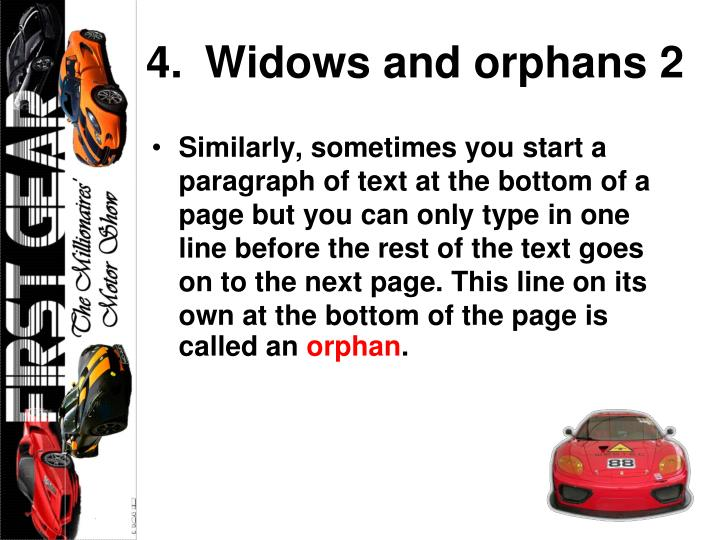 Widows and orphans 2