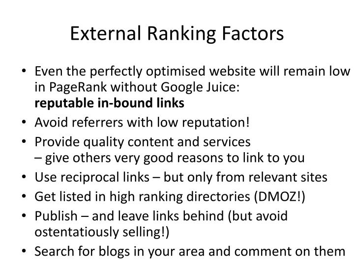 External Ranking Factors