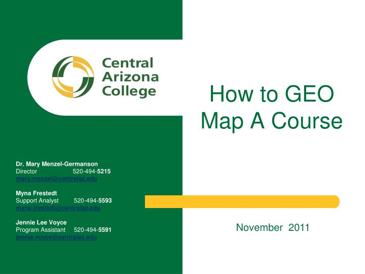 How to GEO Map A Course