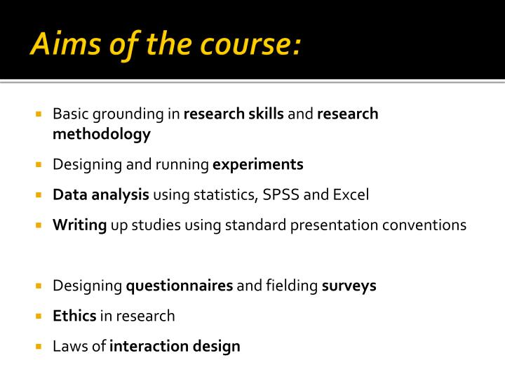 Aims of the course: