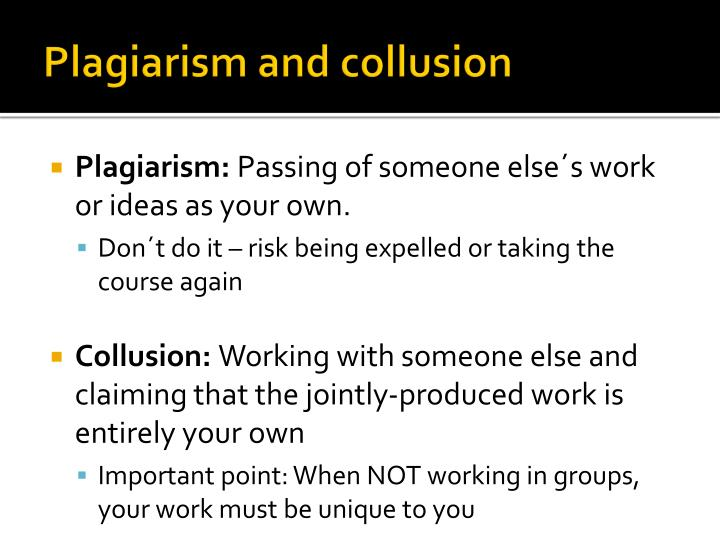 Plagiarism and collusion