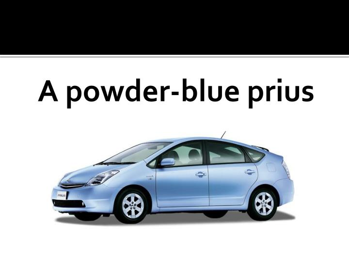 A powder-blue prius