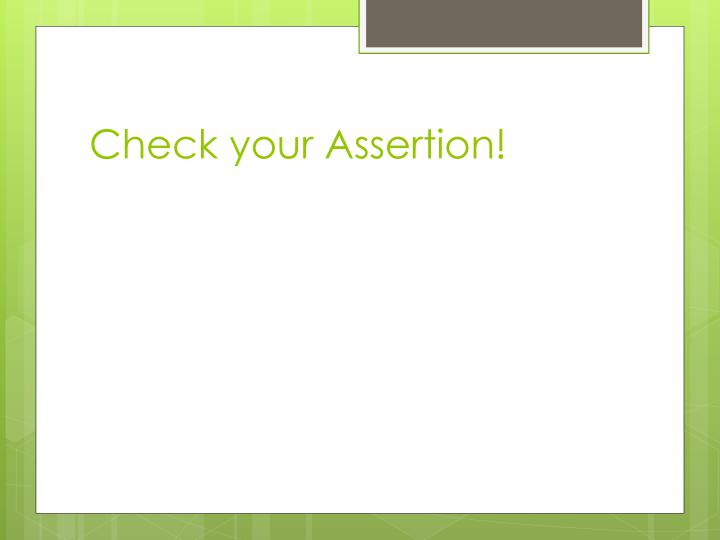 Check your Assertion!
