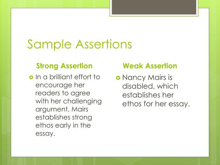 Sample assertions