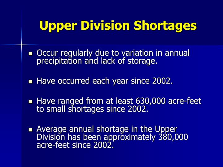 Upper Division Shortages