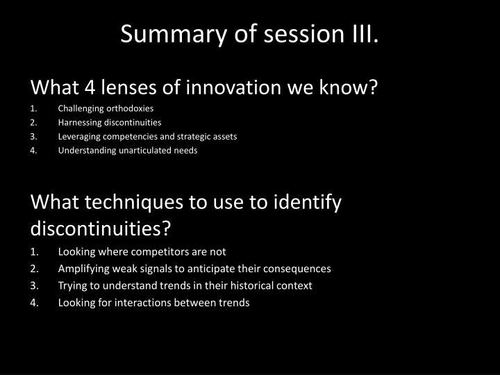Summary of session iii