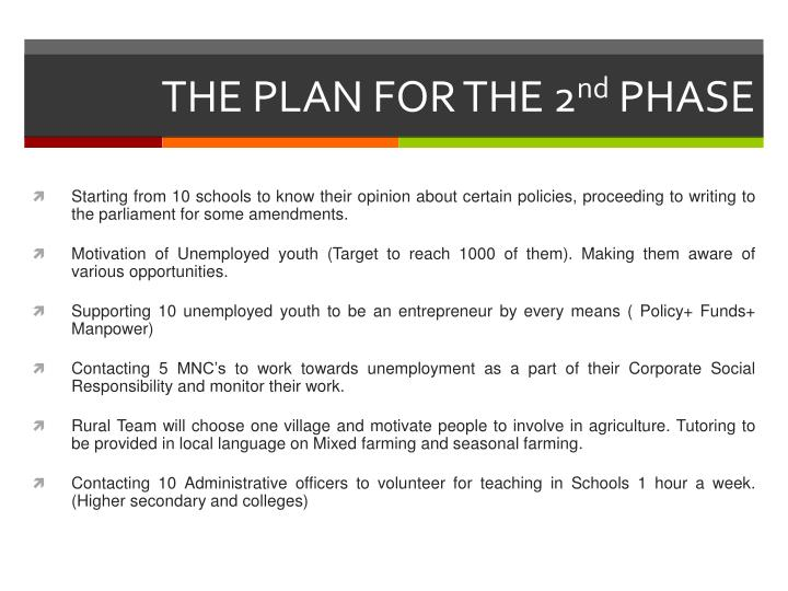 THE PLAN FOR THE 2