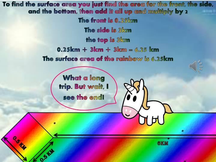 To find the surface area you just find the area for the front, the side, and the bottom, then add it all up and multiply by 2