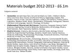 materials budget 2012 2013 6 1m