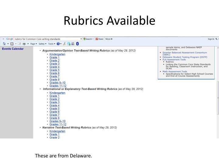 Rubrics Available