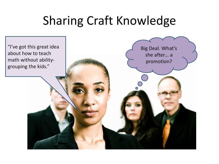 Sharing Craft Knowledge