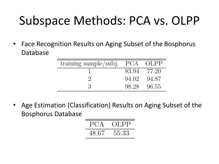 Subspace Methods: PCA vs. OLPP