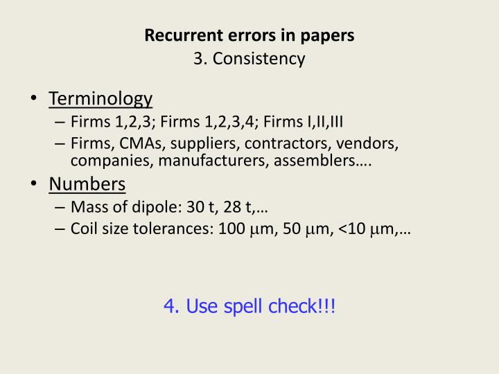 Recurrent errors in papers