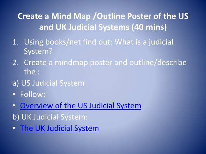 Create a mind map outline poster of the us and uk judicial systems 40 mins