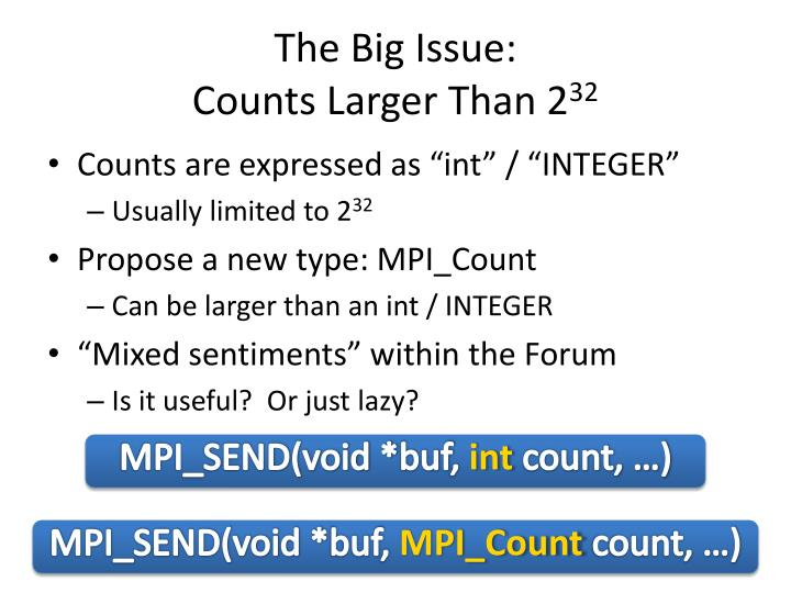 The big issue counts larger than 2 32