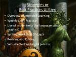 strategies or best practices utilized