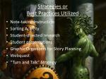 strategies or best practices utilized1
