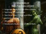strategies or best practices utilized2