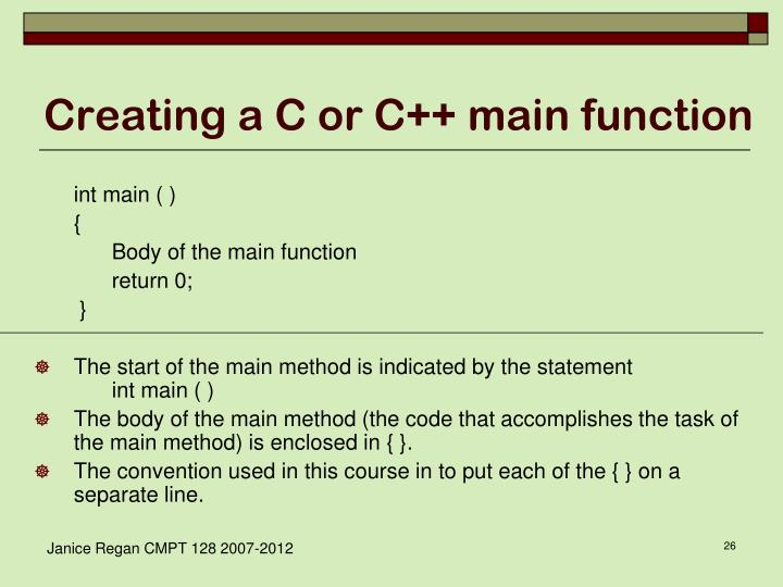 Creating a C or C++ main