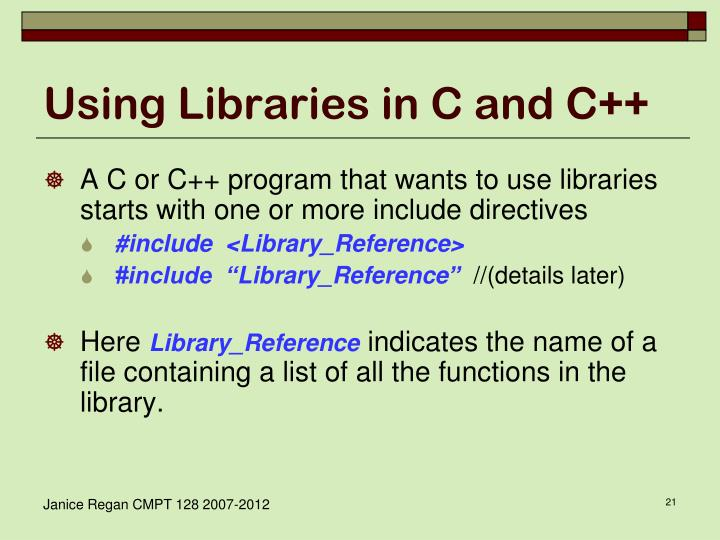 Using Libraries in