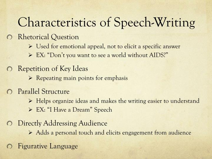 Characteristics of Speech-Writing